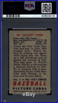 1951 Bowman #1 Whitey Ford Rookie HOF Signed Auto Autographed Yankees PSA/DNA