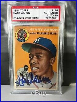 1954 Topps #128 Hank Aaron Rookie Auto/Autograph PSA/DNA 10