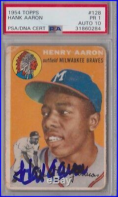 1954 Topps Signed HANK AARON PSA/DNA HOF Rookie PSA 1, GEM MINT PSA 10 autograph