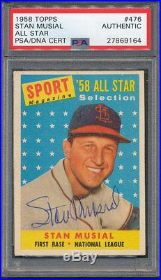 1958 Topps #476 Stan Musial PSA/DNA Certified Authentic Auto Autograph 9164