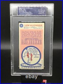 1969 topps #25 lew alcindor hof centered & signed rc psa dna 6only 5 higher