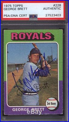 1975 Topps #228 George Brett Rookie HOF Signed Auto Autographed Royals PSA/DNA