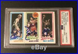 1980-81 Topps Larry Bird Magic Johnson Erving Signed Autograph Rc Psa/dna Auto
