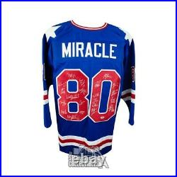 1980 Miracle on Ice Autographed Team USA Olympic Custom Blue Hockey Jersey PSA