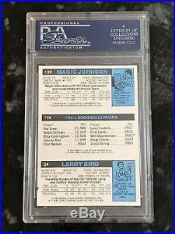 1980 Topps LARRY BIRD JULIUS ERVING MAGIC JOHNSON Auto Autograph RC PSA/DNA