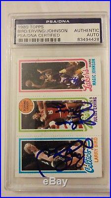 1980 Topps Larry Bird Magic Johnson RC Rookie Julius Erving HOF 3x AUTO PSA/DNA