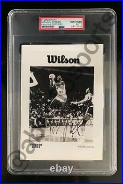 1984-85 Michael Jordan Rookie Promo Autograph Photograph Rc Auto Psa/dna Signed