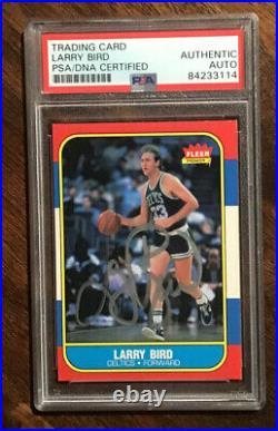 1986 Fleer Basketball #9 Larry Bird Auto Signed Psa/dna Celtics Legend