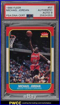 1986 Fleer Basketball Michael Jordan ROOKIE RC PSA/DNA 9 AUTO #57 PSA Auth