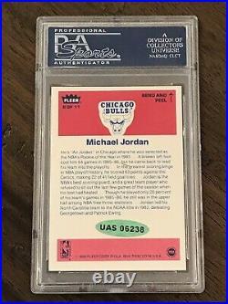 1986 Fleer Sticker MICHAEL JORDAN RC #8 Autograph Auto UDA PSA/DNA