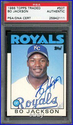 1986 Topps Traded Bo Jackson Autograph PSA/DNA Kansas City Royals