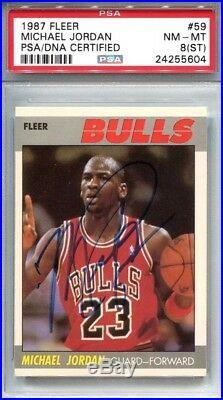 1987-88 Fleer Michael Jordan #59 AUTO Chicago Bulls PSA/DNA 8 ST