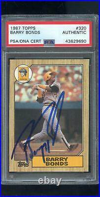 1987 Topps 320 Barry Bonds ROOKIE RC AUTO SIGNED Autograph Card PSA/DNA Baseball