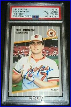 1989 Fleer #616 Bill Ripken Signed FF Error Card Autograph PSA/DNA 10 Gem Auto