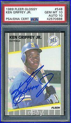 1989 Fleer Glossy Ken Griffey Jr RC PSA/DNA 10 AUTO #548 PSA 10 GEM MINT (POP 1)