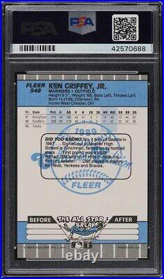 1989 Fleer Glossy Ken Griffey Jr. ROOKIE RC AUTO #548 PSA/DNA 10 GEM MINT