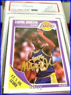 1989 Fleer Magic Johnson Signed Autograph Psa / Dna #77 Psa 10