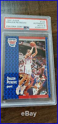 1991-92 Fleer Signed Auto Card Drazen Petrovic Nets Trailblazers Hof Psa Dna 134