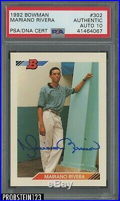 1992 Bowman #302 Mariano Rivera Yankees RC Rookie HOF Signed AUTO PSA/DNA 10
