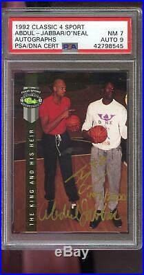 1992 Classic Four Sport 4 Kareem Abdul-Jabbar Shaquille O'Neal AUTO Card PSA/DNA