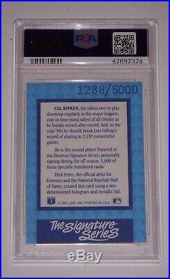1992 Donruss Elite Cal Ripken Jr. Signature Psa/dna Card 8 Nm-mt Auto Psa 10