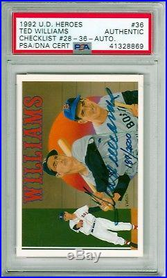 1992 UD Heroes Ted Williams Auto Signed PSA/DNA Authentic GORGEOUS MINT