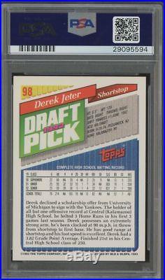 1993 Topps Derek Jeter RC Rookie AUTO #93 HOF PSA/DNA PSA 10