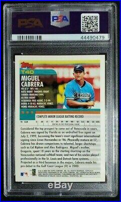 2000 Topps Miguel Cabrera Signed Rookie Card Autograph RC PSA/DNA 10 Auto Tigers