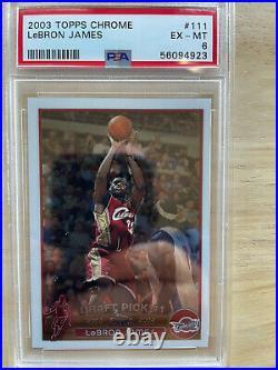 2003-04 Topps Chrome Lebron James Card #111 Psa Graded 6 Ex-mt