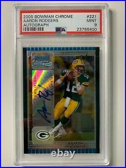 2005 Bowman Chrome Auto Aaron Rodgers PSA 9 #221 Rookie RC GB Packers MVP /199