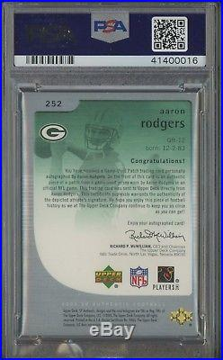 2005 SP Authentic #252 Aaron Rodgers RPA RC 3-Color Patch AUTO /99 PSA/DNA 9