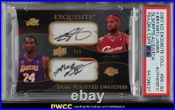2007 Exquisite Collection Kobe Bryant LeBron James PATCH PSADNA AUTO /5 PSA AUTH
