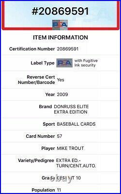 2009 Elite Extra Mike Trout Rookie /149 TOTC Auto #57 PSA 10 Gem Mint Rare