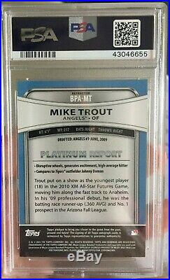 2010 Bowman Platinum Mike Trout Auto 10 Prospect Autograph #BPAMT PSA/DNA Cert