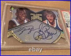 2012 UD All Time Greats Michael Jordan Larry Bird Dual Auto Autograph 6/10 PSA 8