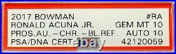 2017 Ronald Acuna Bowman Chrome Blue Refractor RC Auto /150 PSA 10 with 10 Pop 2