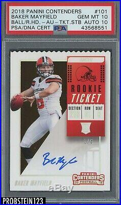 2018 Contenders Rookie Ticket Stub Baker Mayfield RC /6 PSA 10 PSA/DNA 10 AUTO