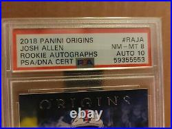 2018 Panini Origins Josh Allen Rookie Autograph PSA 8 AUTO 10 Buffalo Bills RC