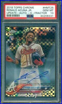 2018 Topps Chrome Update Ronald Acuna Auto RC Rookie Xfractor /125 PSA 10
