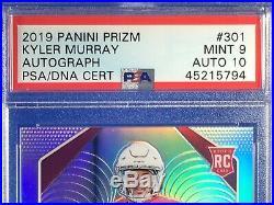 2019 Panini Prizm HOLO Silver #301 KYLER MURRAY RC Rookie PSA DNA 9 MINT AUTO 10