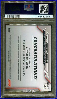 2020 Topps Chrome Formula F1 Auto Refractor Max Verstappen PSA 10 SSP #/52 POP 1