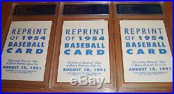 3 Hank Aaron signed auto PSA/DNA 1954 Topps Rookie 1991 EC Natl rep autographed