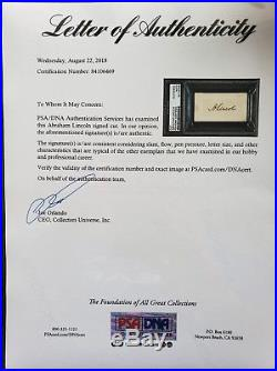 Abraham Lincoln Signed / Autograph Psa/dna Certified