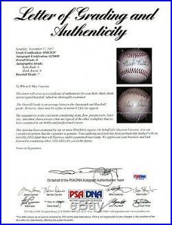 BABE RUTH HANK AARON DUAL SIGNED BASEBALL AUTOGRAPH AUTO PSA/DNA SGC YANKEES HoF