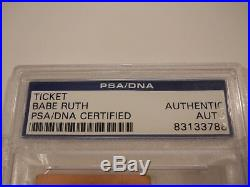 Babe Ruth Signed 1931 New York Yankees Game Ticket Psa/dna Autograph Signature