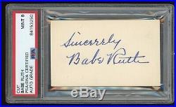 Babe Ruth Signed 3 1/2 x 2 Cut PSA/DNA MINT 9 Vintage Fountain Pen Autograph