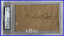 Babe Ruth Signed Cut Signature Psa/dna Mint 9 Authentic Autograph