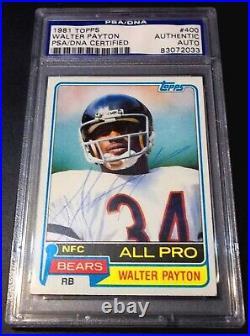 Bears HOF (SB Champ 1986) PSA DNA Walter Payton Auto 1981 Topps Signed Autograph