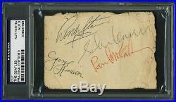 Beatles Lennon, Harrison, McCartney & Starr Signed 3x4.5 Cut PSA/DNA Slabbed
