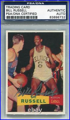 Bill Russell Autographed Trading Rookie Reprint Card (PSA/DNA)